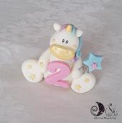 Cake topper unicorno con numero compleanno bimba e palloncino stella