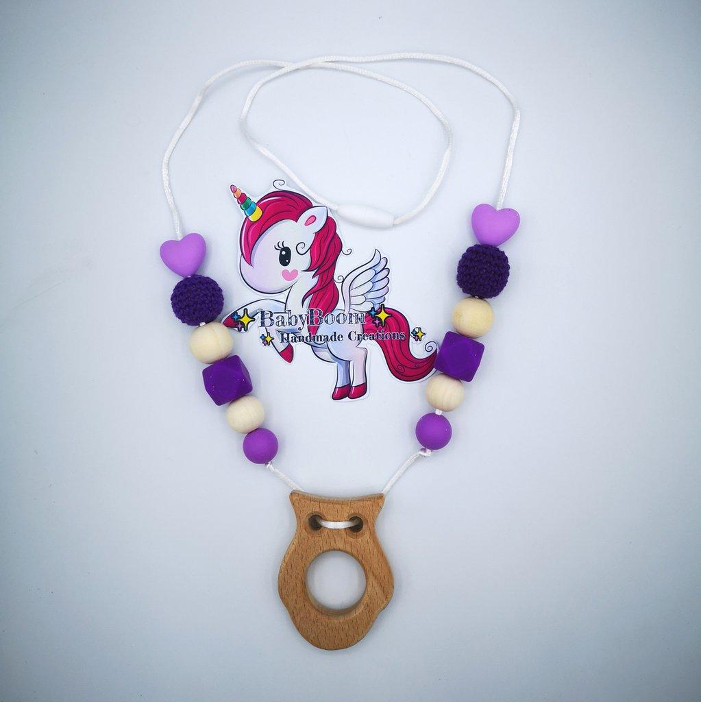 Collana Allattamento - Gufetto e colori Viola
