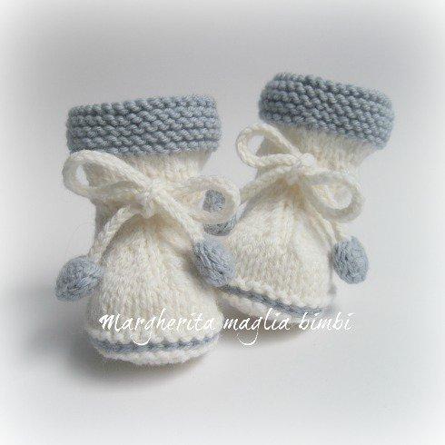 Stivaletti scarpine neonato - fiocco cuoricini - fatti a mano - lana alpaca ea7a88fe8b22