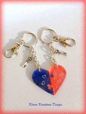 Portachiavi cuore a puzzle, set di 2 portachiavi rosso e blu separabili, idea regalo san valentino per la coppia, regalo anniversario