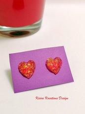 Orecchini cuori rossi in resina glitterati e luminosi, idea regalo san valentino per lei, regalo donna