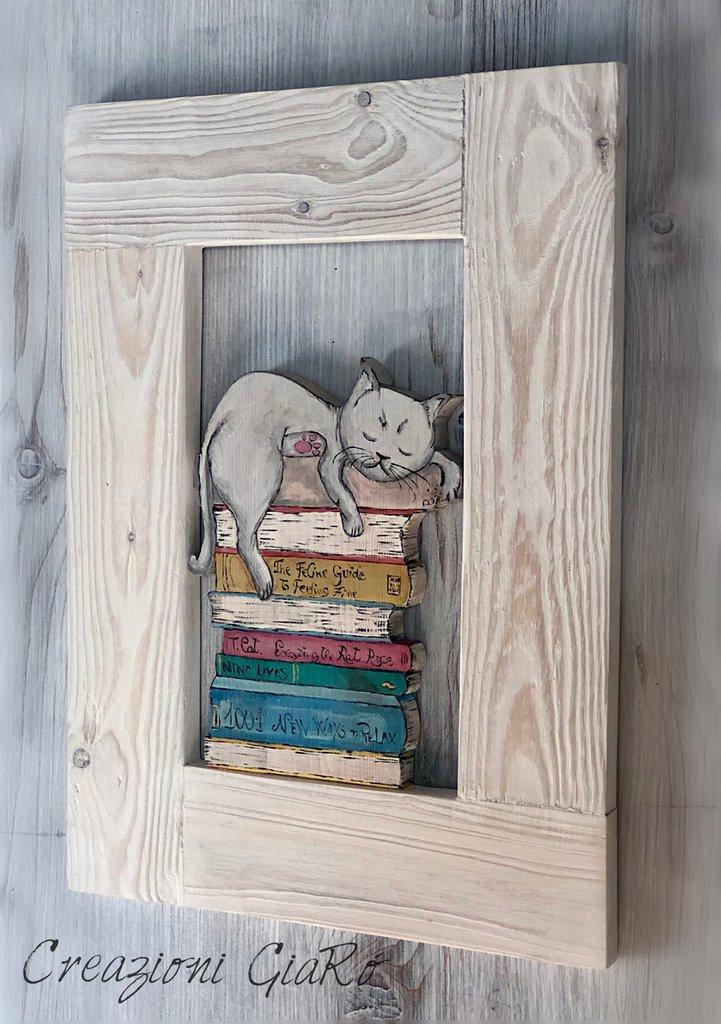 Quadro con gatto in legno