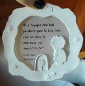 CORNICE PICCOLO PRINCIPE CON ROSA E FRASE