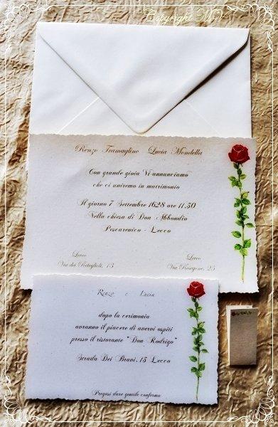 PARTECIPAZIONE di matrimonio AVORIO con ROSA ROSSA