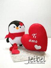 Pinguino San Valentino, regalo, gift, compleanno, ornamento