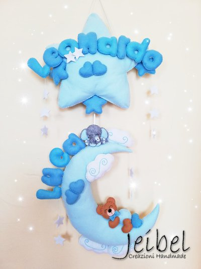 Fiocco nascita, bambino, bambina, elefante, luna stella