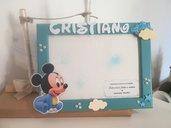 Cornice in legno con topolino e nome personalizzato. Bambino idea regalo battesimo. Idea bomboniera.
