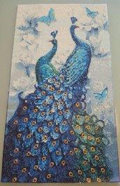 Quadro pavoni con strass misura 35 cm x 65 cm