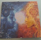 Quadro mosaico sole e luna con cornice a giorno 40x40