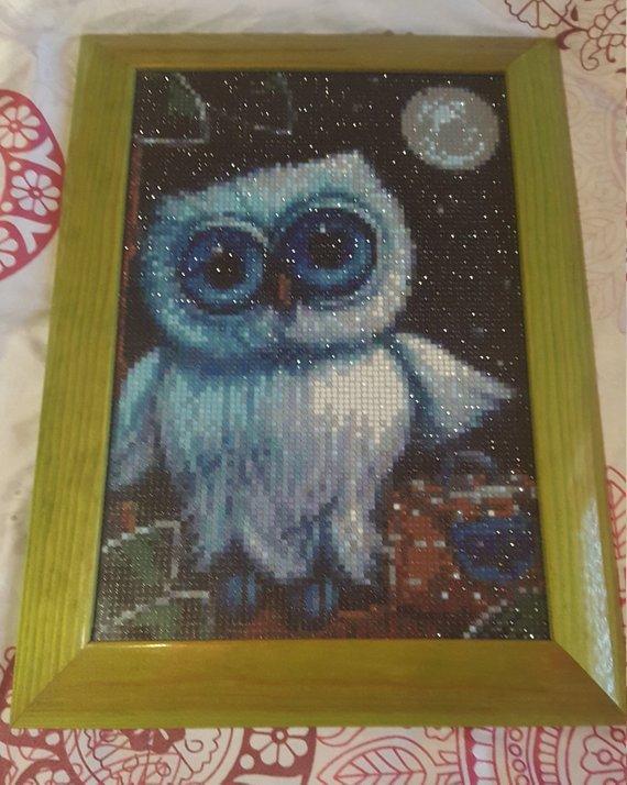"""Quadro mosaico con cornice """"gufo e luna piena """" misura 38x28"""