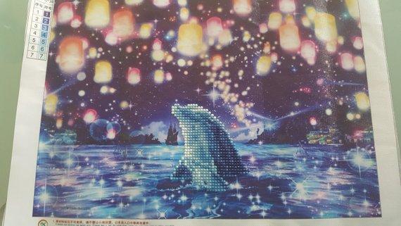 Quadro mosaico Delfino e luci misura 35x25