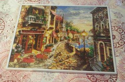 """Quadro mosaico """"passeggiata in paese"""" con cornice  misura 50x40"""
