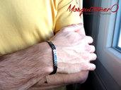 Bracciale uomo in perle di pietra dura di ematite a freccia, snake braccialetto regolabile