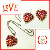 Parure con ciondolo a cuore rosso e argento Luisa-earrings, peline, handmade, jewel, accessories,gift ideas, anniversary, holidays
