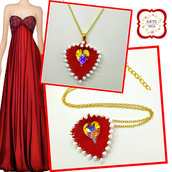 Collana Lilli con ciondolo foglia a cuore rosso e bianco-earrings, peline, handmade, jewel, accessories,gift ideas, anniversary, holidays