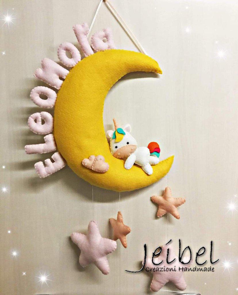 fiocco nascita, unicorno, luna, stelle