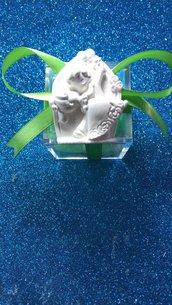 Sposini sposi casquè in gesso ceramico su scatolina