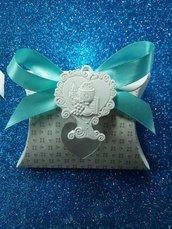 Bomboniera scatolina cuore con applicazione albero cuore icona comunione gesso ceramico