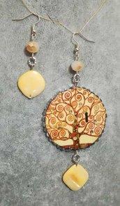 Orecchini pendenti Albero della vita Klimt decoupage carta madreperla donna