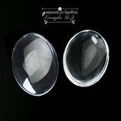 2 cabochon vetro trasparenti ovali misura 30 x 20 mm.