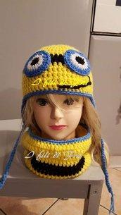 Cappello più scaldacollo donna o bambini minions