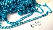 1 metro catena alluminio colore azzurro misura 6 x 3,5 mm.