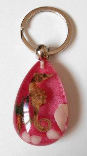 Portachiavi cavalluccio marino conchiglie - rosa