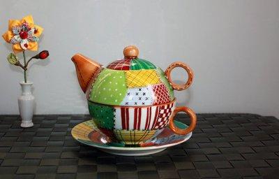 Tazza di Porcellana per Tè con Infusore - Stile PatchWork - Dipinta interamente a Mano tecnica terzo fuoco