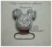 Clip per catenella portaciuccio Topolino glitter ARGENTO