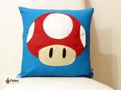 Fodera cuscino ispirata al fungo di Super Mario