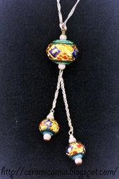 Collana d'argento con pendente in ceramica