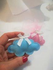 Bomboniere nuvoletta rosa azzurra. Bambino bambina. Battesimo. Portachiavi/calamita. Personalizzabile iniziale nome.