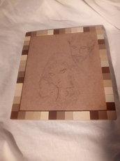 Quadro in legno e mosaico