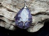 Collana donna con ciondolo in vera ametista e albero della vita wire pietra dura naturale chakra cristalloterapia