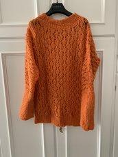 Maxi maglia lavorata traforata lana arancio