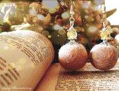 Orecchini pendenti in feltro di lana merino color sabbia