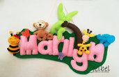 Banner, cameretta, decorazione bambini, giungla, animali