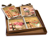IDEA REGALO SET QUADRETTI SHABBY CHIC COUNTRY ARREDAMENTI CUCINA 15x15 ART sr13