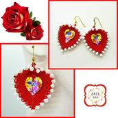 Orecchini fatti a mano Lilli con ciondolo foglia a cuore rosso e bianco-earrings, peline, handmade, jewel, accessories,gift ideas, anniversary, holidays