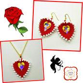 Parure fatta a mano Lilli con ciondolo foglia a cuore rosso e bianco-earrings, peline, handmade, jewel, accessories,gift ideas, anniversary, holidays
