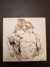Quadro pirografato a mano. San Sebastiano
