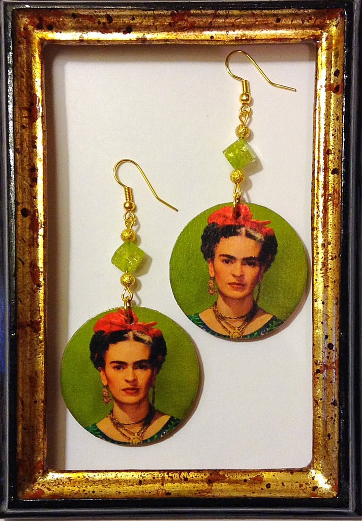 FRIDA KAHLO PRIMOPIANO Orecchini handmade (verde)
