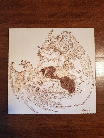 Quadro pirografato a mano. San Michele Arcangelo