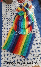 Set cappello più scaldacollo arcobaleno adulti