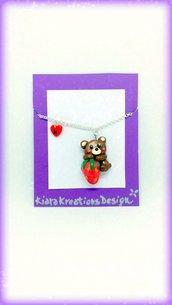 Collana orsetto kawaii con fragola in fimo, gioielli orso per idea regalo amica