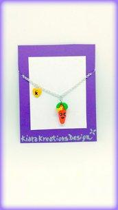 Collana carota kawaii in fimo, gioielli verdura per idea regalo amica