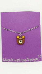 Collana orsetto kawaii in fimo, gioielli orso per idea regalo amica