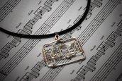 collana con chiave di violino, collana con spartito, gioielli musicali, personalizzabile