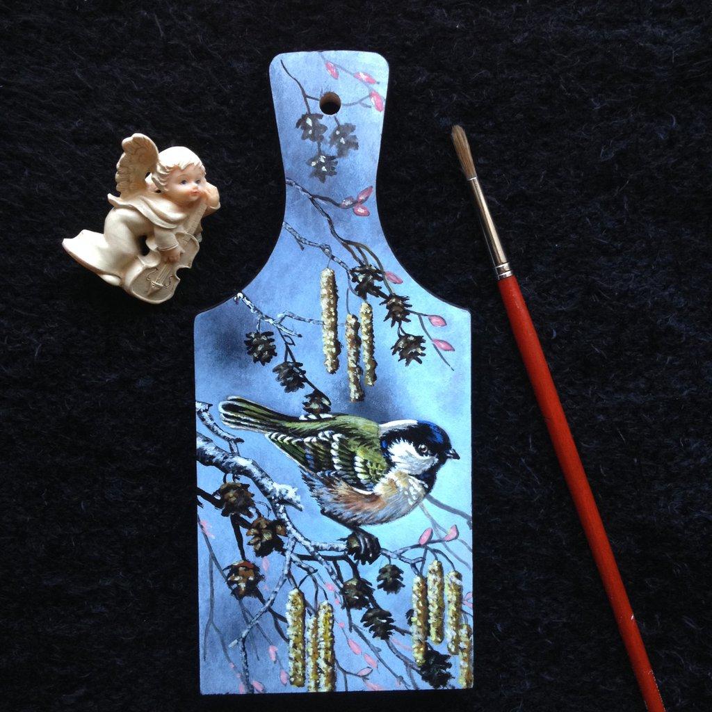 Tagliere in legno dipinto Uccellino