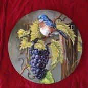 Quadretto in legno dipinto a mano Uva